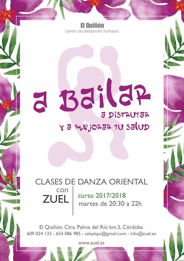 Cartel clases de danza del vientre en El Quiñón, Córdoba.